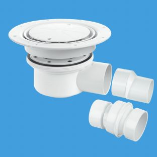 McAlpine TSG52WH Two-piece gully water seal, white plastic clamp and cover plate